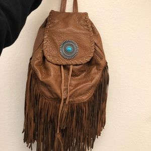 Handbags - Brown leather / turquoise stone back pack
